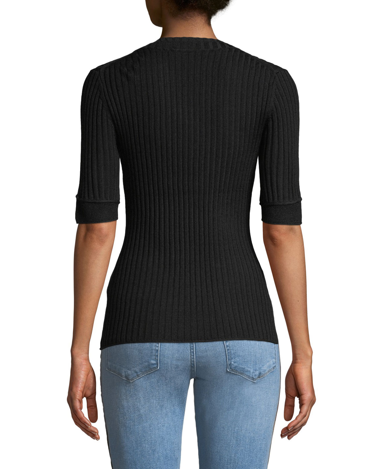 66913a966831 3.1 Phillip Lim Ribbed 3 4-Sleeve Sweater w  Button Details