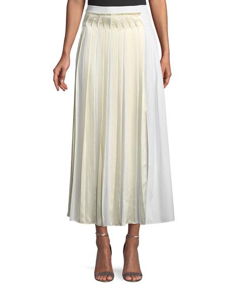 Pleated Cotton Poplin Maxi Skirt