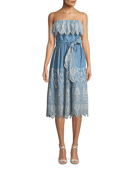 Eleanora Strapless Eyelet Popover Sundress