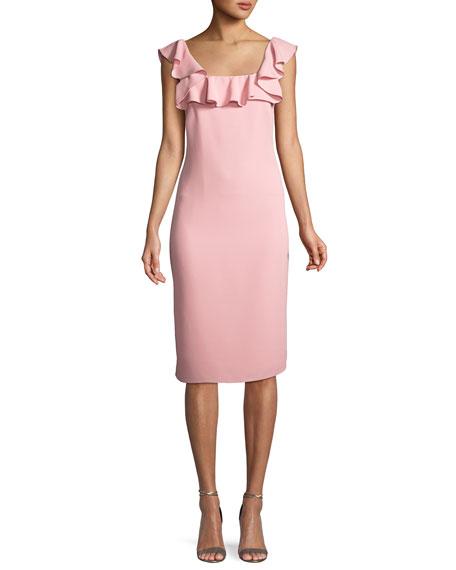 Abril Ruffle-Trim Sheath Dress