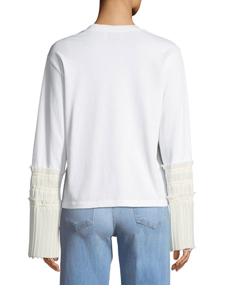 Long-Sleeve Crewneck Top with Pleated Cuffs