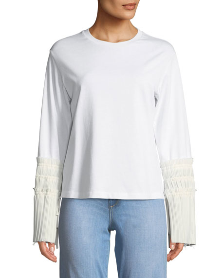 3.1 Phillip Lim Long-Sleeve Crewneck Top with Pleated