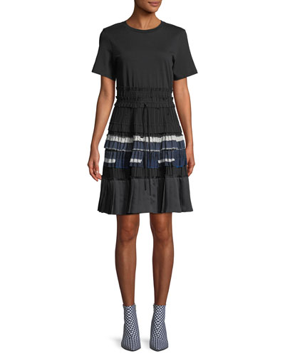 Pleated Crewneck Tee Dress