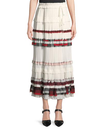 Tiered Pleated Midi Skirt