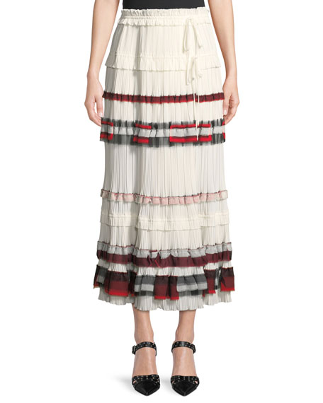 3.1 Phillip Lim Tiered Pleated Midi Skirt