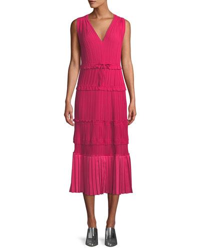 Pleated V-Neck Tiered Midi Dress