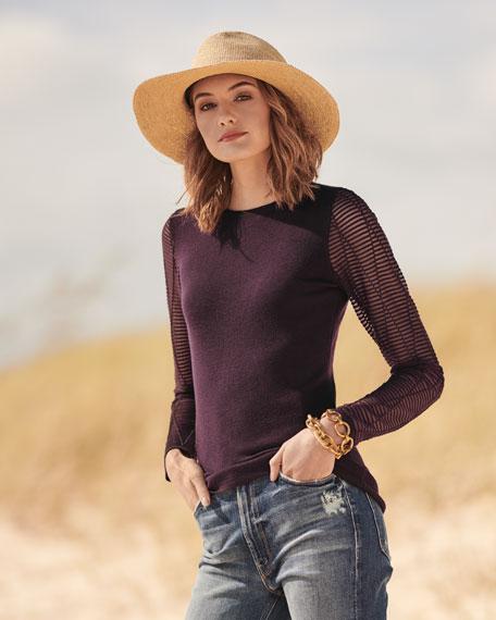 Cashmere Ottoman-Stitch Sweater