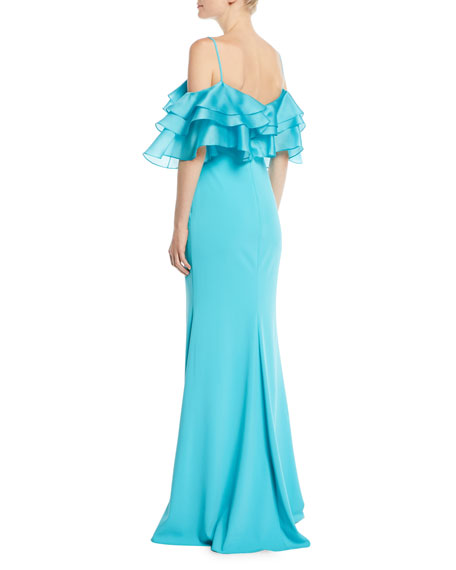 Organza Ruffle-Sleeve Mermaid Gown