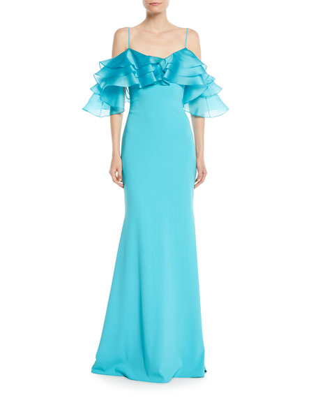 Badgley Mischka Collection Organza Ruffle-Sleeve Mermaid Gown