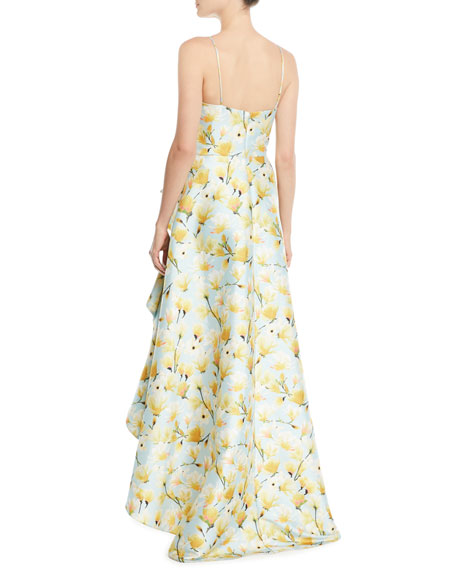 Floral-Print Mikado Ruffle High-Low Gown