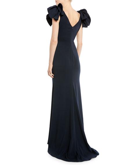 Bow-Shoulder Crepe Column Gown