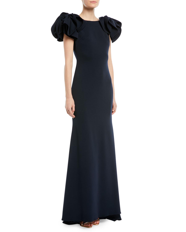 Badgley Mischka Collection Bow-Shoulder Crepe Column Gown | Neiman ...