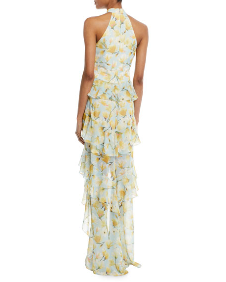 Floral High-Low Ruffle Halter Gown