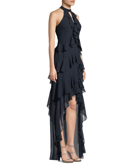 High-Low Georgette Ruffle Halter Gown