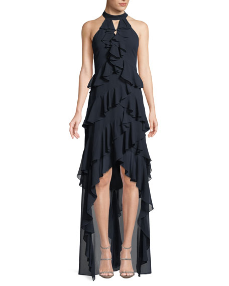 Badgley Mischka Collection High-Low Georgette Ruffle Halter Gown