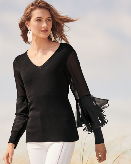 Chiffon Ruffle-Sleeve V-Neck Cashmere Sweater