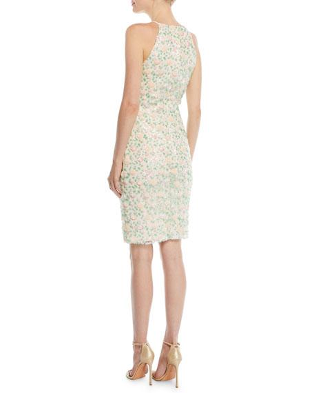 Badgley Mischka Collection Floral Sequin Halter Cocktail Dress