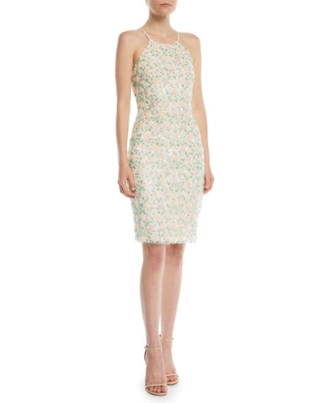 Badgley Mischka Collection Floral Sequin Halter Cocktail Dress