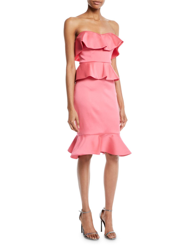 Badgley Mischka Collection Strapless Peplum Cocktail Dress Neiman