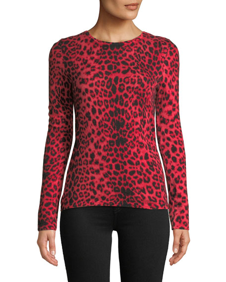 Leopard-Print Cashmere Pullover Sweater