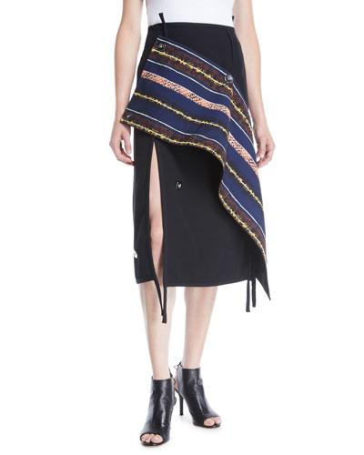 Deconstructed Asymmetrical Wool Midi Skirt