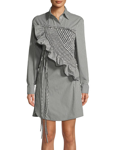 Ruffled Long-Sleeve Gingham Shirtdress