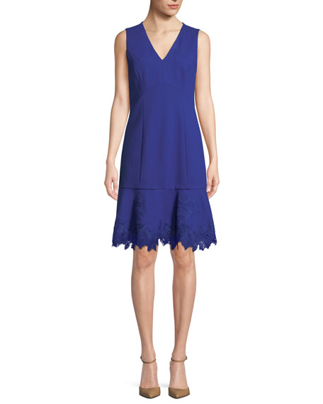 Elie Tahari Darianna V-Neck Sleeveless A-Line Crepe Dress