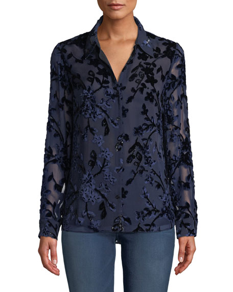 Elie Tahari Martha Long-Sleeve Button-Front Floral Devore Velvet