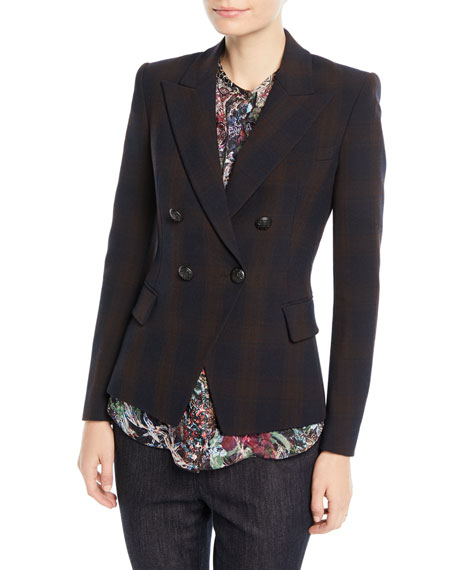 Elie Tahari Jezebel Double-Breasted Plaid Jacket and Matching