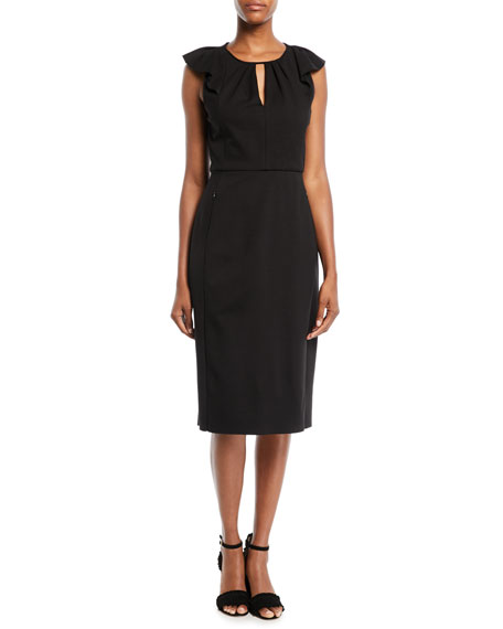 Elie Tahari Adalynn Flutter-Sleeve Dress