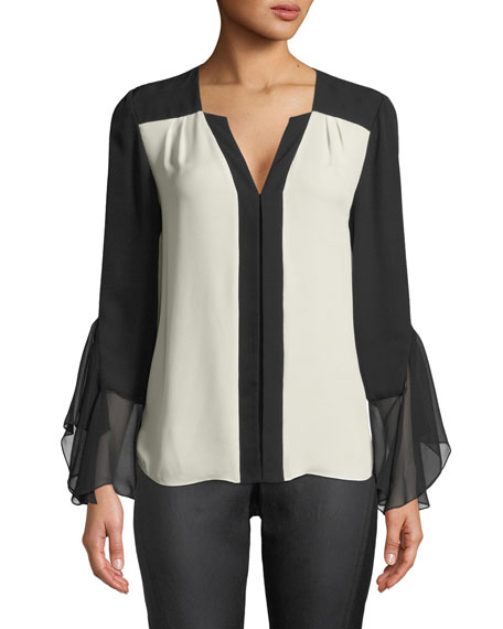 Elie Tahari Margita Two-Tone Silk Blouse and Matching