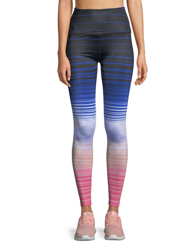 Lux Striped High-Waist Leggings