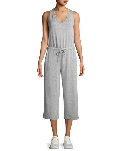 Farrah Scoop-Neck Sleeveless Wide-Leg Cropped Jumpsuit