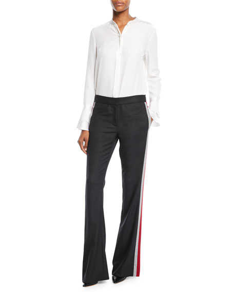 Anna Side-Stripe Boot-Cut Pants