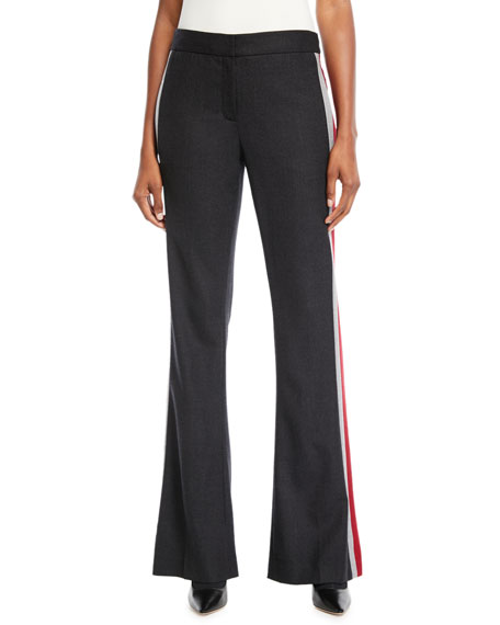 Elie Tahari Anna Side-Stripe Boot-Cut Pants