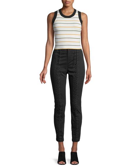 Kerrigan Lace-Up Skinny-Leg Pants
