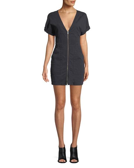 Novak Zip-Front Mini Dress