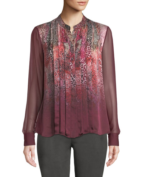 Elie Tahari Terri Snakeskin-Print Silk Blouse and Matching