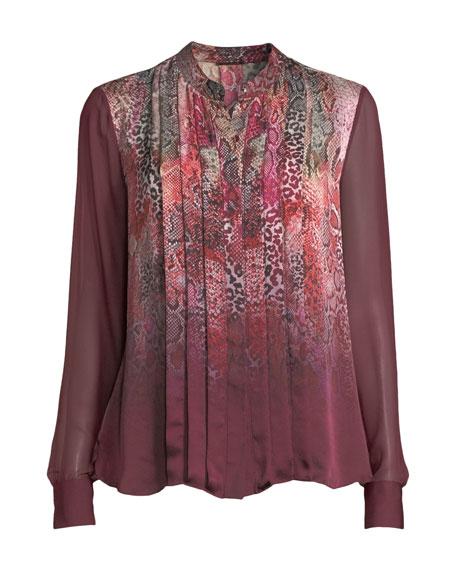 Terri Snakeskin-Print Silk Blouse