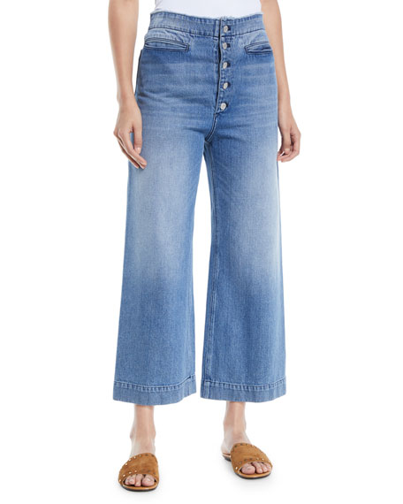Patrick Cropped Wide-Leg Denim Pants