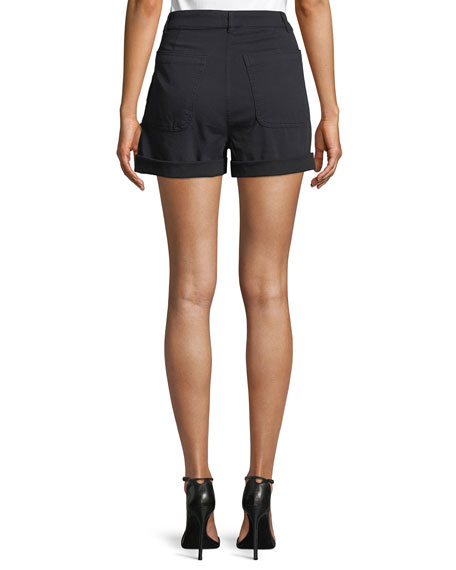 Pierce Sailor Button High-Waist Shorts
