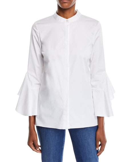 Sukie 3/4-Sleeve Poplin Blouse