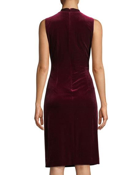 Dolly Side-Ruched Sleeveless Velvet Sheath Dress