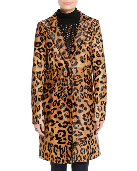 Angelina Leopard-Print Calf Hair Coat