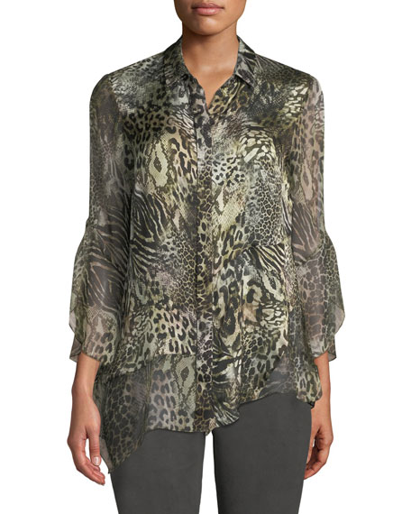 Elie Tahari Layla Animal-Print Silk Blouse and Matching