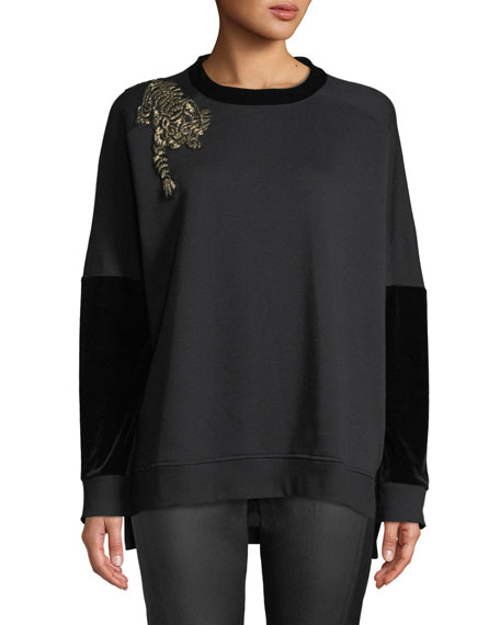 Elie Tahari Chantae Knit Sweater w/ Leopard Detail