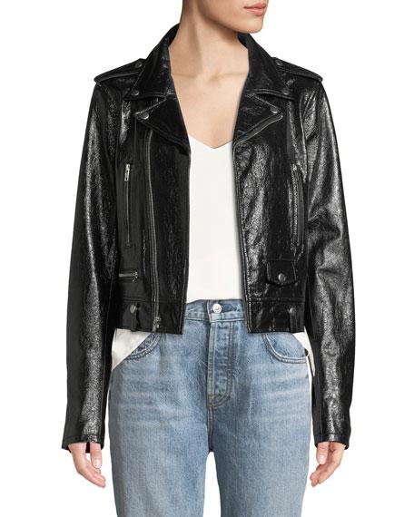 ELIE TAHARI Jacalyn Patent Leather Moto Jacket in Black