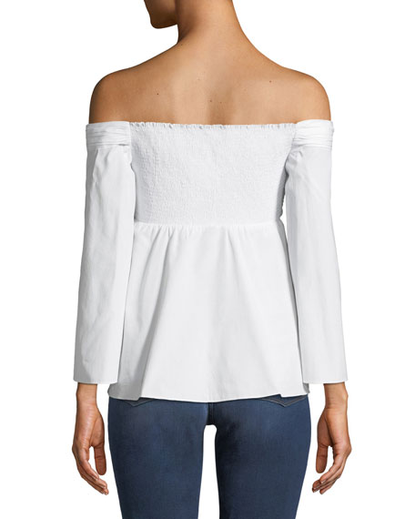 Auster Ruched Off-the-Shoulder Poplin Top