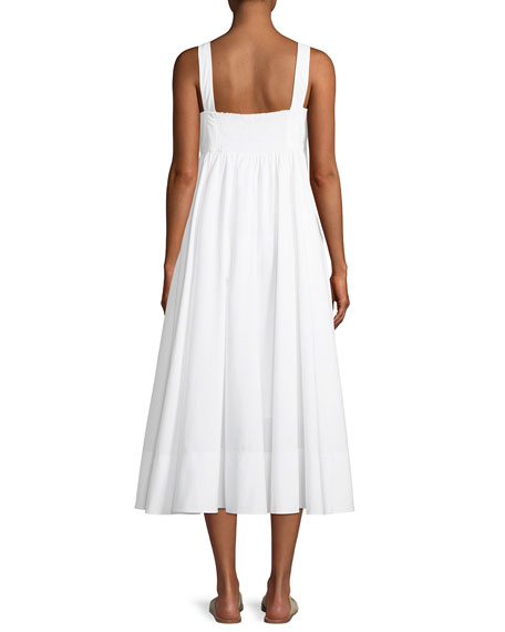 Iris Tie-Front Cotton Midi Dress