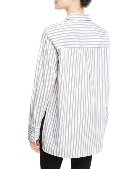 Wharton Striped Poplin Button-Down Top